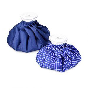 Navaris Set 2x poche de glace - Sac de chaleur et de froid réutilisable pour soulagement de douleur - Vessie de glace 2 tailles - bleu et blanc (KW-Commerce, neuf)