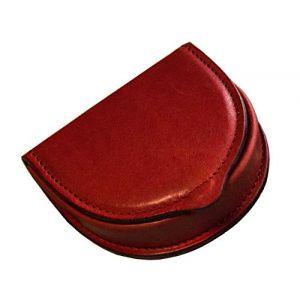 Italienne porte monnaie cuvette en cuir véritable tanné végétal - Etabeta Artigiano Toscano - Made in Italy (rouge) (ETABETA ARTIGIANO TOSCANO, neuf)