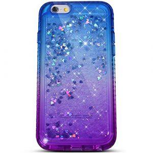 Felfy Compatible avec Coque iPhone 6S Liquide Paillette,Compatible avec iPhone 6S Coque Transparente Silicone TPU 3D Glitter Quicksand Strass Étui Housse Bumper Cover Case,Bleu Violet (Okssud, neuf)