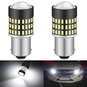 KaTur 1156 BA15S 7506 1073 1095 1141 Ampoule LED 900 Lumens 3014 78SMD Lentille LED Ampoules pour feu Stop Clignotant Feu arrière Feu de recul, Blanc Xenon (Pack de 2) (KAtur, neuf)