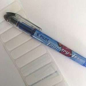 Kit de marquage textileavec feutre indélébile pour tissu et étiquettes vierges thermocollantes 25 Labels and Pilot Pen (Nametape Express, neuf)