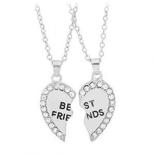 Fletion Colliers Fashion 2 Colliers Necklace d'Amitie Chaine Pendentif Amour Coeur Motif BEST FRIENDS Pendentif d'amitié 2 Moitiés (Kanity, neuf)