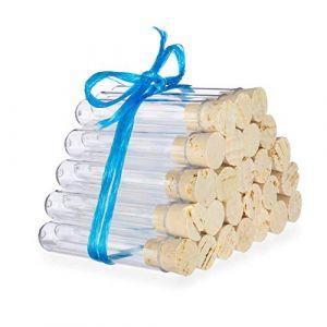 100 x Tubes à essai en plastique avec des bouchons en liège naturel | Éprouvettes | Qualité supérieure ? (75 x Ø12 mm) (Tuuters, neuf)