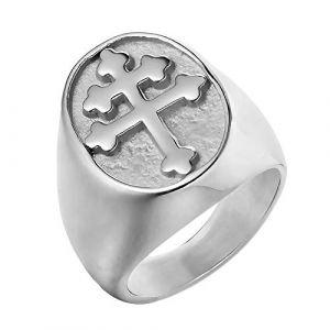 BOBIJOO Jewelry - Bague Chevalière Homme Croix de Lorraine Patriarcale Acier Inoxydable Argenté - 73 (14 US), Acier Inoxydable 316 (ANGELYK, neuf)