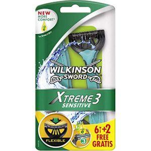 Wilkinson Lot de 6 rasoirs jetables Sword Xtreme 3 Sensitive Lot de 6 + 2 gratuits (Destoc, neuf)