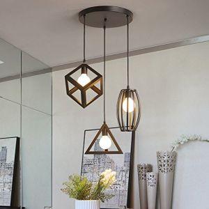 STOEX Suspension Luminaire Vintage Cage Métal, Lustre Industriel 3 Lampes E27 Corde Ajustable pour Salon Cuisine Chambre (STOEX, neuf)