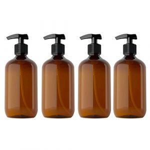 Kitchnexus 4pcs 300ml Distributeur Savon Salle de Bain Flacon Pompe Vide Distributeur de Savon Liquide Gel pour Les Mains, Vert Marron PP + Pet de Qualité Alimentaire (Kitchnexus, neuf)