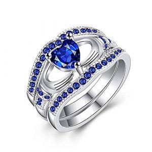 KEATTL Bague Femme,Unique Conception Placage d'Argent Diamant Trois Étages Tenue De La Main Forme De Coeur Bleu Cristal Engagement Anneau (7, Argent) (KEATTL, neuf)