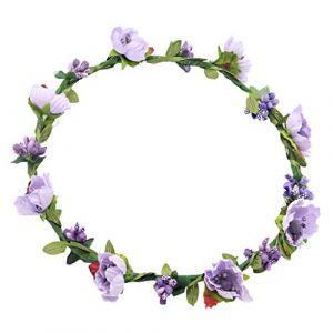 LuohuiFang Guirlande de fleurs artificielles pour femmes et filles avec ruban pour festival, couronne de mariage, plage, vacances, violet, taille unique (LuohuiFang, neuf)