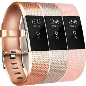 Yandu Fitbit Charge 2 Bracelet Sangle Réglables Accessorie Replacement Band pour Fitbit Charge 2 Fitness Sport Wristband (03, 3PC(Or Rose+Champagne+Rose), Small) (xdlm, neuf)