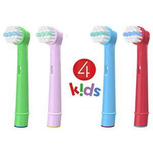 Brossettes - Kids EB-10A - Têtes de Remplacement Brosses à Dent Electrique Compatible pour Braun Oral B (Pack 4) (Candore, neuf)