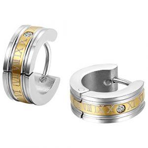 JewelryWe Bijoux Boucles d'oreilles Homme Chiffre Romain Anneaux Charnière Acier Inoxydable Fantaisie Couleur Or Argent (JewelryWe Bijoux, neuf)