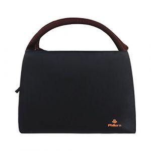 PHILORN Sac Repas Lunch Bag Déjeuner Boite Isotherme Fourre-Tout pour Le École et Le Travail, Noir (PhilornDirect, neuf)