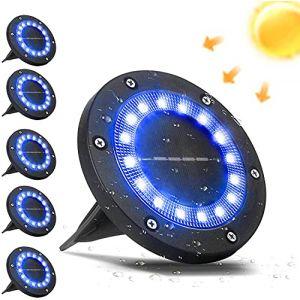 VANPEIN 16 LEDs Lampes Solaires Exterieures Jardin Lot de 6 Spots Solaires Encastrables IP65 Etanche Lampe Solaire au Sol Bleu pour l'éclairage de Chemin Terrasse Cour Souterraine (Pushijie, neuf)