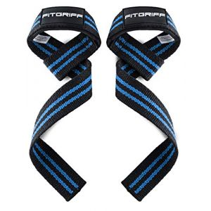 Fitgriff® Sangles de Levage de Musculation (Rembourré), Sangle Poignet, Sangle de Tirage Musculation - pour Femmes et Hommes - Blck/Blue (Fitgriff, neuf)