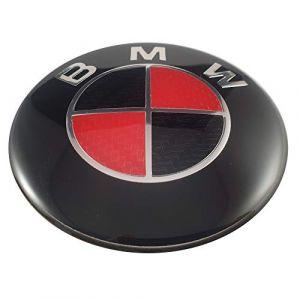 Autre logo Ludostreet réf0001 emblème pour BMW 82 mm avant de capot de voiture. (Rouge - NoirBlanc Carbone) (Ludostreet, neuf)