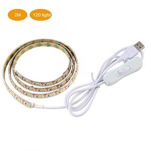 Pawaca USB LED Strip LightÂ–2m/2M IP65étanche Multicolore Ruban LED RVB avec télécommande TV rétroéclairage kit pour TV/PC/Ordinateur Portable Fond d'éclairage 2M/6.56Ft Blanc Chaud (Enrui [SR9], neuf)