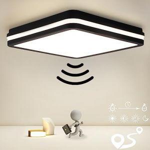 Plafonnier avec Détecteur de Mouvement, 18W 1800lm, IP54 Étanche Plafonnier LED, 4000K Lampe pour Salle de Bain, Escalier, Cave, Couloir, Garage, Entrepôt, ?22CM (OPPEARL, neuf)