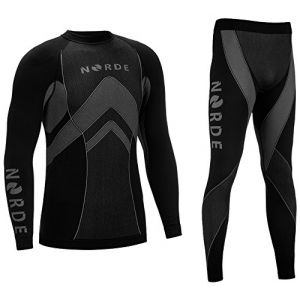 THERMOTECH NORDE Base Layer SET Manches Longues + Collant Long (Noir/Gris, XL) (Nordcamp, neuf)