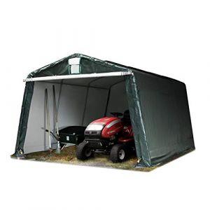 3,3 x 4,8 m garage, abri de stockage, PE 260 g/m², tente garage vert foncé (INTENT24, neuf)