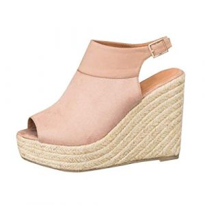 Minetom Femme Mode Sandale Espadrille Lanière Cheville Sandale Talon Compensé Plateforme Femme Été Mode Sandale B Rose EU 37 (Joeh Carnival, neuf)