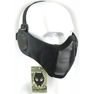 ATAIRSOFT Tactical Airsoft CS Demi-Masque de Protection en Nylon avec Masque Anti-Bruit Noir Black (WorldShopping4U, neuf)
