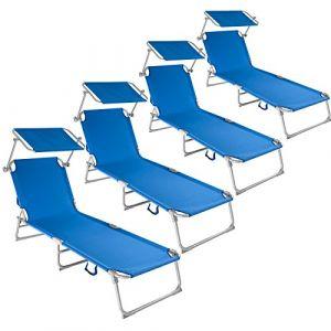 TecTake Chaise Longue Pliante Bain de Soleil avec Parasol Pare Soleil - diverses Couleurs et quantités au Choix - (4X Bleu | No. 400690) (Made4Home SAS, neuf)