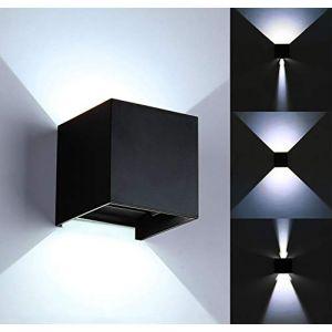 Applique moderne à LED de 12W / applique murale extérieure, angle de faisceau ajustable et étanche, boîtier en alliage d'aluminium, pour intérieur/extérieur (Noir-6000K) (xodycd-fr, neuf)