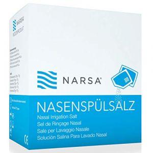 NARSA 60x Sel de rinçage nasal pour Douche Nasale Irrigateur & Nettoyant Nez · Sel pour NARSA Kit douche nasal · Idéal contre Nez Congestions, Allergies, Sinusite Rhume, Grippe Pollen et Infections (Tampen, neuf)