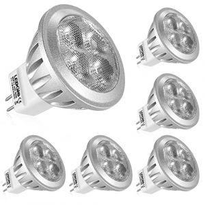 LEDGLE Ampoule LED GU4 12V MR11 3W, 36W Ampoule Halogene équivalent, 260LM, Non dimmable, Blanc Chaud 2700K, Lot de 6 (NICESEASON, neuf)