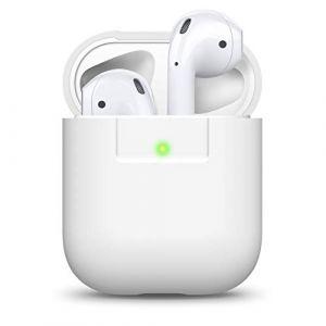 elago Étui Compatible avec Apple AirPods 1 & 2 (Témoin LED Visible) en Silicone Non-Toxique Anti-Rayures Plus de Protection [AirPods et Boîtier Non Inclus] - Blanc (elago, neuf)