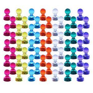 Push Pin Aimants, Lot de 60 couleurs assorties punaises magnétique solide, parfait Aimants pour tableau blanc, réfrigérateur, carte et calendrier Magenesis (MagnetproA, neuf)