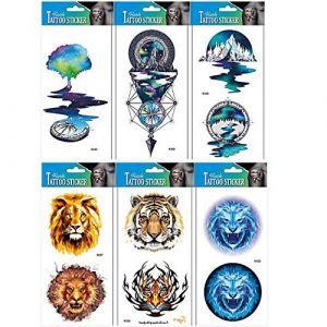PAMO 10pcs dragon dragon Faux et vrais autocollants de tatouage temporaire qui ont l'air réels dans des emballages, y compris dragon, cerf, lance, mal, rose, loup, totem, crâne, bijoux, etc. (PAMO BEAUTY, neuf)