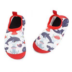 TIZAX Chaussures Aquatiques pour Bébé Chaussures Antidérapant d'eau pour Enfant Filles Chaussons Séchage Rapide pour Plage Piscine NatationRequin Rouge 22/23 (Lacofia, neuf)