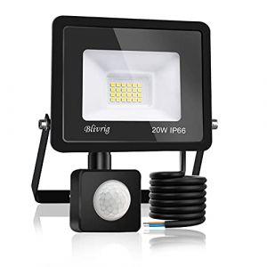 Blivrig Projecteur LED détecteur de mouvement 20W,2000LM IP66 Imperméable Spot LED Extérieur Puissant,Blanc Chaud(3000K) eclairage exterieur led pour Jardin Terrasse Garage Patio Grange Cour (Fourtry, neuf)