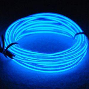 3M EL Wire Fil Neon Flexible Lumiere avec le Pack de batterie Néon brillant l'effet stroboscopique fil électroluminescent Parti de Noel, Halloween Fete, Decoration Voiture, Exterieure(Bleu) (San Jison, neuf)