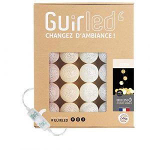 Guirlande lumineuse boules coton LED USB - Veilleuse bébé 2h - Adaptateur secteur double USB 2A inclus - 3 intensités - 32 boules 4.8m - Coton (Lighting Arena, neuf)