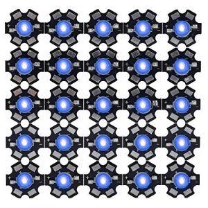 25 pièces 3W 395nm-400nm puce LED ultraviolette haute puissance lampe UV perles diode puces avec base en aluminium (Herexty, neuf)