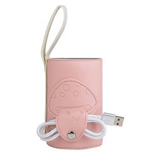 Chauffe-Lait Maternel Sac Housse Chauffe-Lait Portable Chauffe Biberon de Voyage USB Porte-Biberon Chauffe-Lait Electrique Thermostatique pour Bébé(Pink) (Kggy-eu, neuf)
