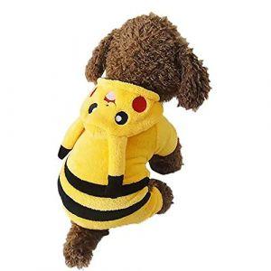 Topelec-Pikachu Costume drôle pour chien et chat Costume Corsaire déguisement de Noël Halloween Vêtements d'hiver chaud pour chiens Cat-M (Topelec, neuf)