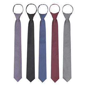 WANYING 5 × Homme Zipper Cravate 6cm Étroite Pré-liée Sécurité Cravate Casual Business Longueur 48cm - Violet & Noir & Marine Bleu & Bordeaux & Gris (WANYING EU, neuf)