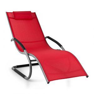 Blumfeldt Sunwave - Chaise Longue de Jardin, Résistante aux intempéries, Cadre en Aluminium, Arrondi pour Un Effet Bascule, Accoudoirs, Pliable, Rouge (Electronic-Star-FR, neuf)