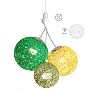 Luminaire Suspension E27-100% prêt à l'emploi sans outils - A visser directement sur une douille E27 - Télécommande sans fil - 3 boules en chanvre naturel - 3 ampoules LED E27 incluses (3x9W)-Canopée (Lighting Arena, neuf)