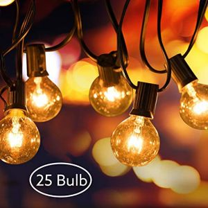 Guirlande Lumineuse, AODOOR Guirlande Guinguette Raccordable avec 25 Ampoule Blanc Chaud G40 Lampes Cordes, avec 2 ampoules rechange, Décoration intérieur et extérieur pour Jardin, Décoration de Parti (QUSTAL, neuf)