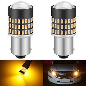 KaTur 1156 BA15S 7506 1073 1095 1141 Ampoule LED 900 Lumens 3014 78SMD Lentille LED Ampoules pour feu Stop Clignotant Feu arrière Feu de recul, Orange (Paquet de 2) (KAtur, neuf)