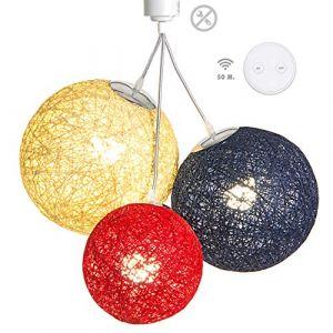 Luminaire Suspension E27-100% prêt à l'emploi sans outils - A visser directement sur une douille E27 - Télécommande sans fil - 3 boules en chanvre naturel - 3 ampoules LED E27 incluses (3x9W)-Sunset (Lighting Arena, neuf)