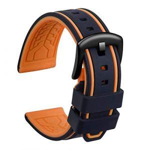 Ullchro Bracelet Montre Remplacer Silicone Bracelet Montre Bicolore - 20, 22, 24, 26mm Caoutchouc Montre Bracelet avec Acier Inoxydable Boucle Noir (22mm, Noir et Orange) (Ullchro-EU, neuf)