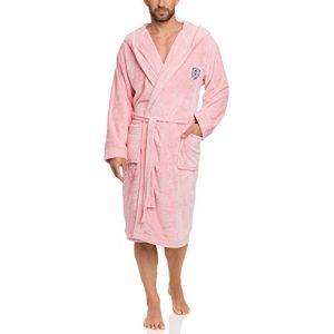 L&L Robe de Chambre à Capuche Veste d'Intérieur Homme LL0042 (Rose, M) (Hisert, neuf)