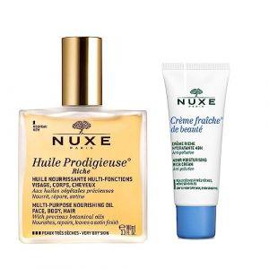 Nuxe Huile Prodigieuse Riche Visage-Corps-Cheveux 100 ml + Crème Fraîche de Beauté Crème Riche Hydratante 48H 15 ml Offerte (Cocooncenter, neuf)