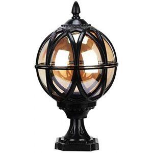 Exterieur jardin lampadaire Lanterne MPX Pilier lampe IP54 pilier extérieur sphérique étanche Lampe Vintage Post Light rétro jardin Spot lanternes E27 Aluminium Villa Clôture Terrasse Communauté 40cm) (WEIBING, neuf)